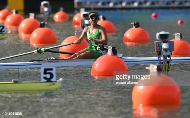Lechuga Alanis of Mexiko arrives at the start to compete in the Women's Single Sculls Quarterfinals of the Rowing events during the Rio 2016 Olympic...