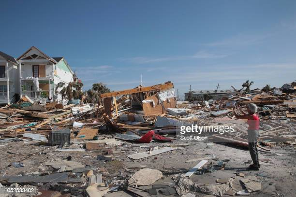 LeClaire Bryan mother of country music artist Luke Bryan takes a picture of her home to send to her son after it was severely damaged by Hurricane...