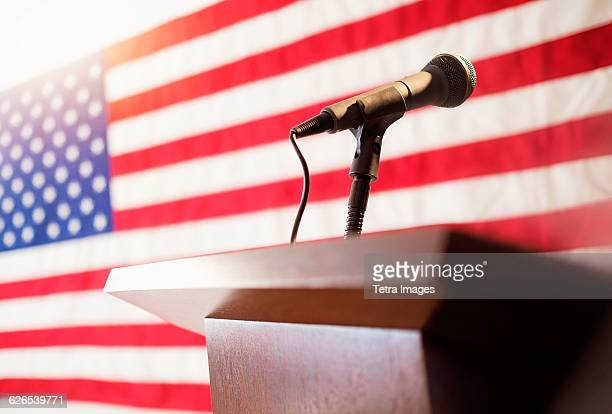 Lectern with American flag in background