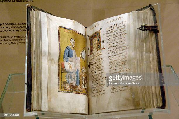 ART GREECE Lectionary illuminated and manuscript containing the Gospel passages read during the Divine Liturgy Open book Byzantine Museum Athens