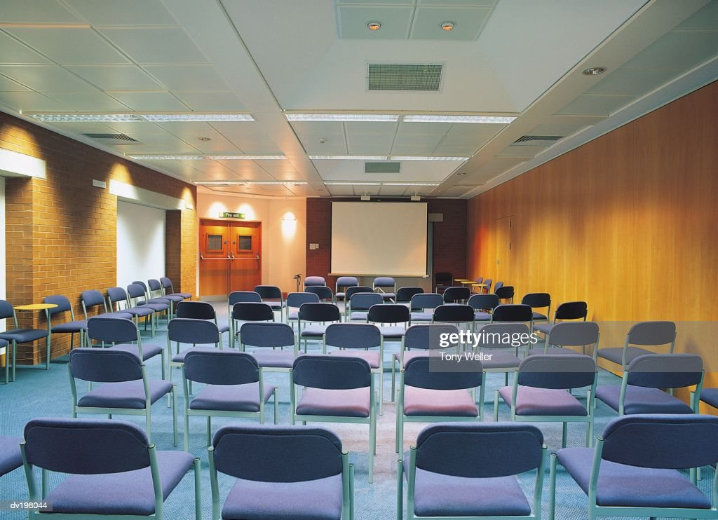 Lecture hall set up for presentation : Stock Photo