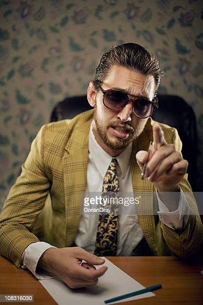 lecturing salesman