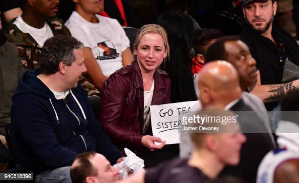 Lecy Goranson attends New York Knicks vs Detroit Pistons game at Madison Square Garden on March 31 2018 in New York City