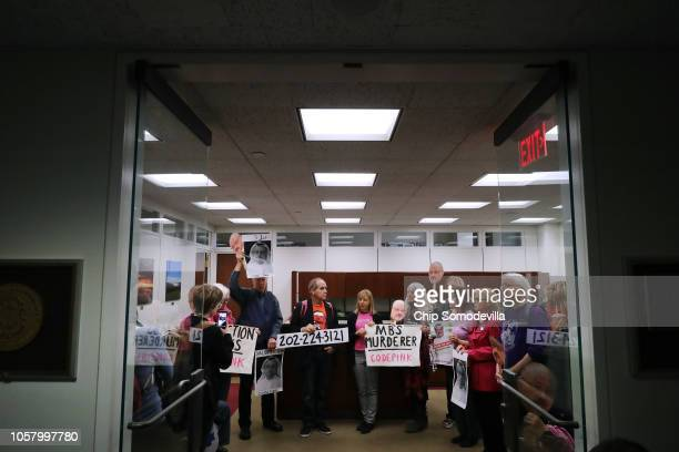 Led by activist Medea Benjamin about 17 protesters from Code Pink Women for Peace demonstrate against US involvement in the Saudiled war in Yemen in...