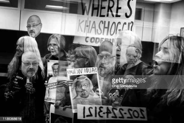 Led by activist Medea Benjamin, about 17 protesters from Code Pink: Women for Peace demonstrate against U.S. Involvement in the Saudi-led war in...