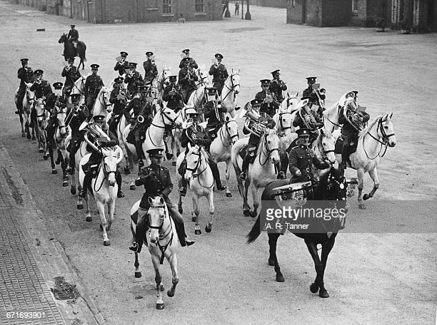 Led by bandsman Frederick Everson and his Kettle Drum horse Lairdsburn, officers and the mounted band of the Royal Scots Greys regiment take part in...