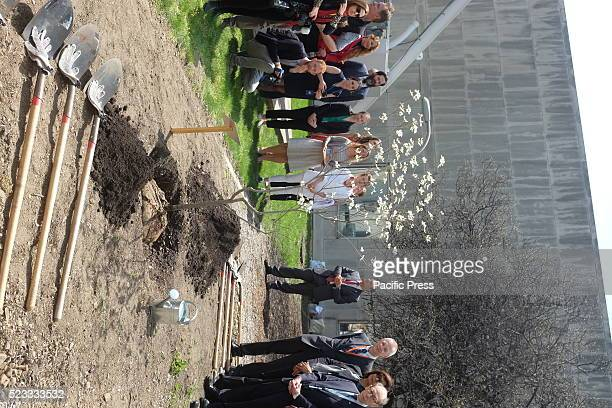 Led by General Assembly president Mogens Lykketoft UN officials planted a cherry blossom tree in the UN's 'satellite garden' in honor of Earth Day...