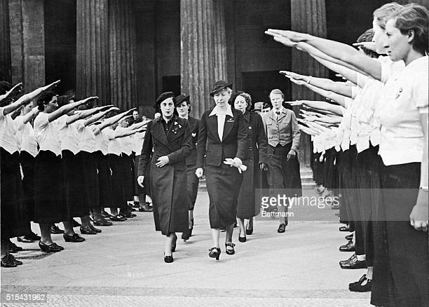 Led by Pilar Primo de Rivera a group of Spanish women Falangist leaders representing the Nationalists were welcomed in Berlin recently by German...