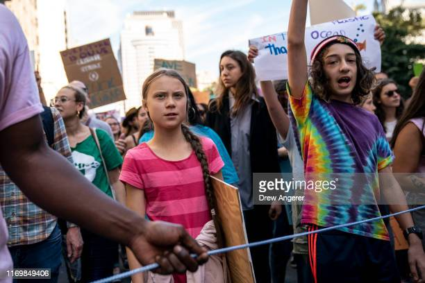 Led by Swedish climate activist Greta Thunberg young activists and their supporters rally for action on climate change on September 20 2019 in New...
