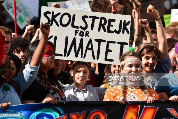 Led by Swedish climate activist Greta Thunberg young activists and their supporters rally for action on climate change on September 27 2019 in...
