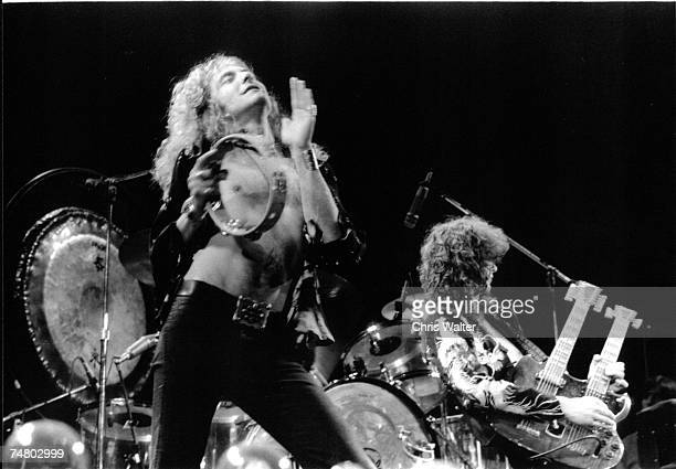 Led Zeppelin 1975 Earls Court Robert Plant and Jimmy Page during Led Zeppelin File Photos at the Led Zeppelin File Photos in Earls Court United...