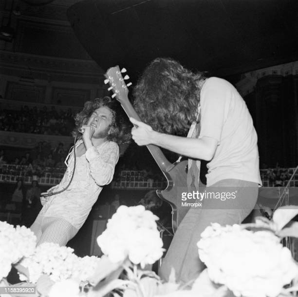Led Zeppelin Concert at the Royal Albert Hall, London, Sunday 29th June 1969; pictured lead singer Robert Plant and guitarist Jimmy Page.