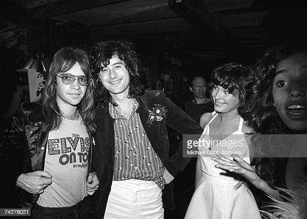 Led Zeppelin guitarist Jimmy Page arrives for an after party at Rodney's English disco accompanied by his girlfriend Miss Pamela Club Owner Rodney...