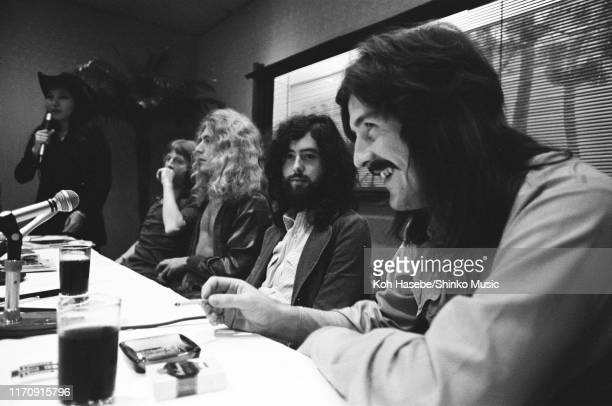 Led Zeppelin of Led Zeppelin, at a welcome party for the band at Tokyo Hilton Hotel, Tokyo, Japan, 22nd September 1971. L-R John Paul Jones, Robert...