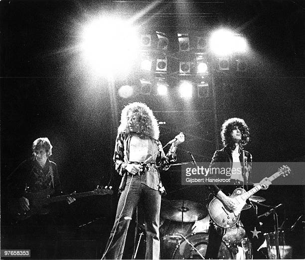 Led Zeppelin perform live on stage in Germany in March 1973 LR John Paul Jones Robert Plant Jimmy Page