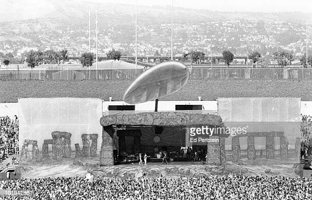 Led Zeppelin perform on stage at the Oakland Coliseum on July 23 1977 in Oakland California