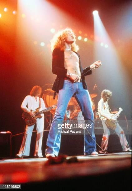 Led Zeppelin perform on stage Madison Square Garden New York June 1977 LR John Paul Jones Robert Plant Jimmy Page