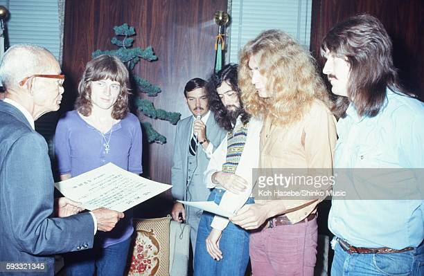 Led Zeppelin presented a letter of appreciation by Hiroshima city mayor Hiroshima September 1971