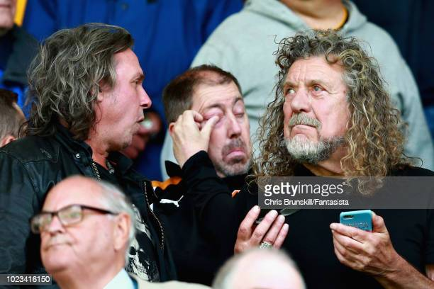 Led Zeppelin singer Robert Plant attends the Premier League match between Wolverhampton Wanderers and Manchester City at Molineux on August 25 2018...