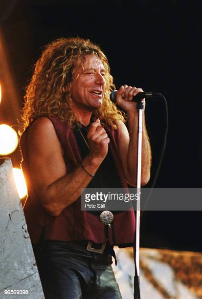 Led Zeppelin vocalist Robert Plant of Page and Plant performs on stage on Day 3 of The Glastonbury Festival in Somerset on June 25th 1995 in...
