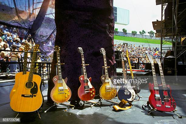 Led Zeppelin's guitars on stage at the Day on the Green Oakland Coliseum Oakland California July 1977