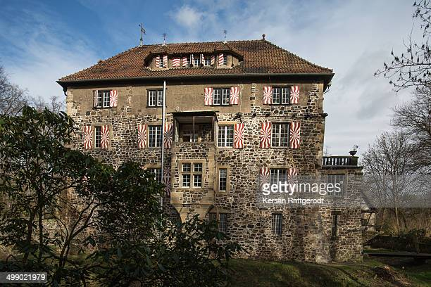 Lede Castle, a small moated castle near Bonn, rear front.