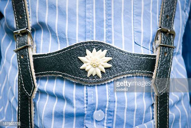 lederhosen close-up, young boy wearing them and blue striped shirt - traditional clothing stock pictures, royalty-free photos & images