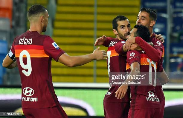 Ledesma Pedro of AS Roma celebrates after scoring the opening goal during the Serie A match between Udinese Calcio and AS Roma at Dacia Arena on...