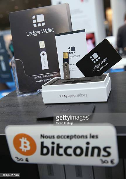 LedgerWallet Nano USB stick that enables securityprotected transactions with bitcoins stands on display at the 2015 CeBIT technology trade fair on...