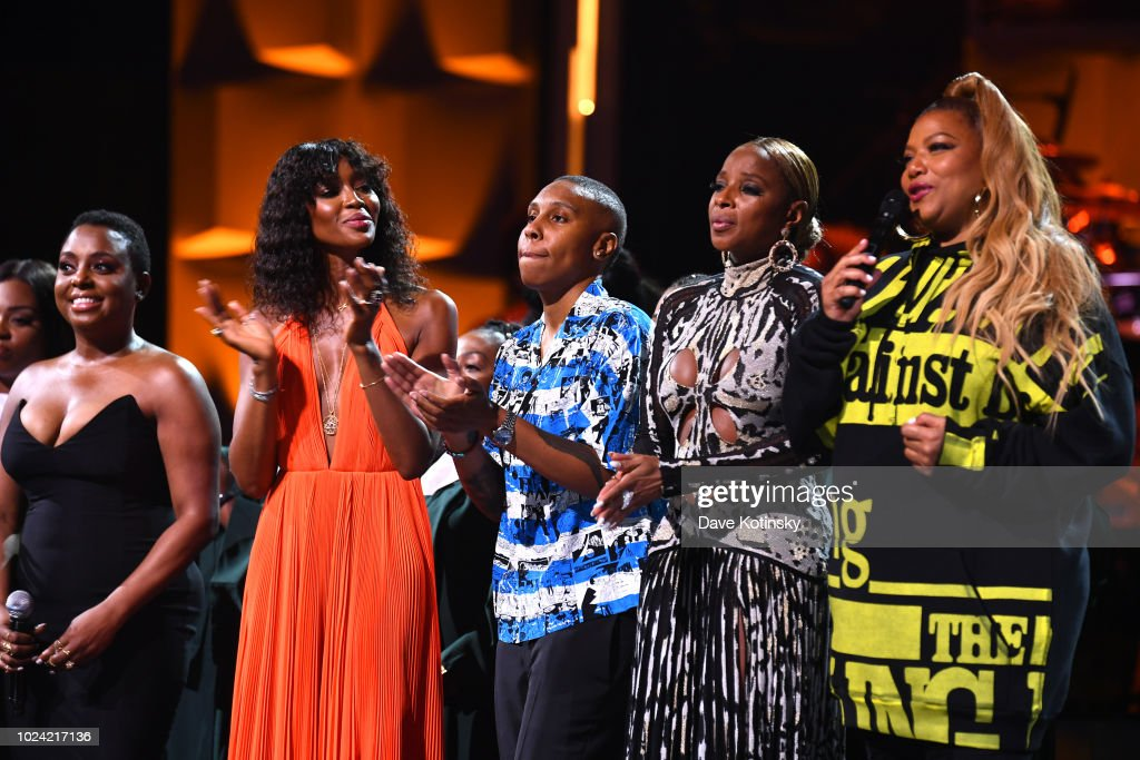 Ledisi; Naomi Campbell, Lena Waithe, Mary J. Blige and Queen Latifah onstage during the Black Girls Rock! 2018 Show at NJPAC on August 26, 2018 in Newark, New Jersey.