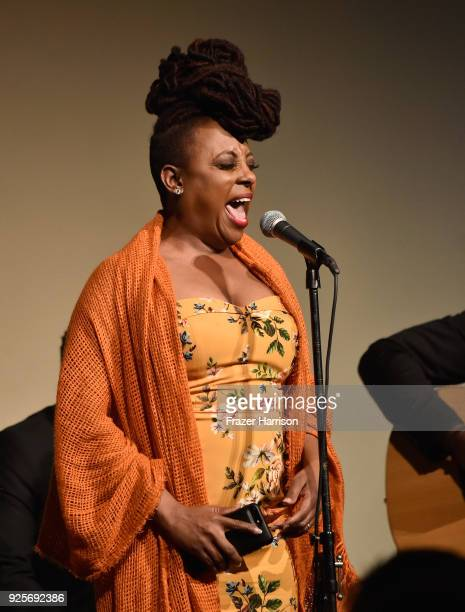 Ledisi performs onstage during the 15th Annual Global Green Pre Oscar Party at NeueHouse Hollywood on February 28 2018 in Los Angeles California