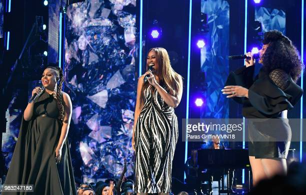 Ledisi Yolanda Adams and Marsha Ambrosious perform onstage at the 2018 BET Awards at Microsoft Theater on June 24 2018 in Los Angeles California