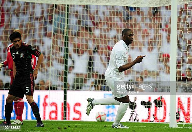Ledley King of England celebrates his goal against Mexico during the International Friendly match between England and Mexico at Wembley Stadium on...