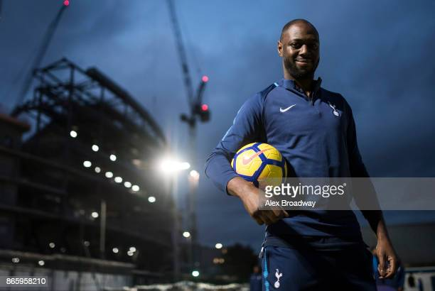 Ledley King Tottenham Hotspur Foundation ambassador poses for a picture with the new Nike Ordem V HiVis ball on October 24 2017 in London England The...