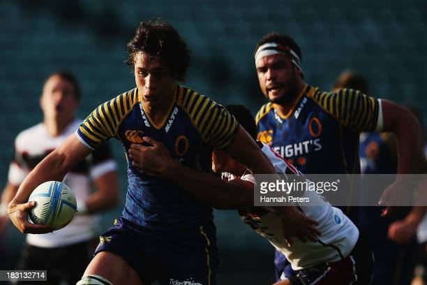 Lee Allan of Otago makes a break during the round eight ITM Cup match between North Harbour and Otago at North Harbour Stadium on October 5, 2013 in...