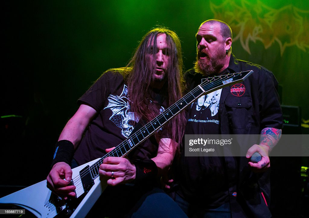Lee Altus (L) and Rob Dukes of Exodus performs in concert during the Metal Alliance Tour at The Fillmore on April 6, 2013 in Detroit, Michigan.