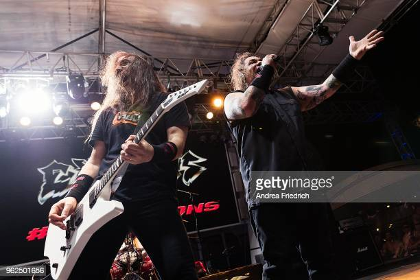Lee Altus and Steve 'Zetro' Souza of Exodus perform onboard the cruise liner 'Independence of the Seas' during the '70000 Tons of Metal' Heavy Metal...