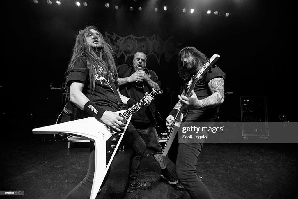 Lee Altus, Rob Dukes and Greg Holt of Exodus performs in concert during the Metal Alliance Tour at The Fillmore on April 6, 2013 in Detroit, Michigan.