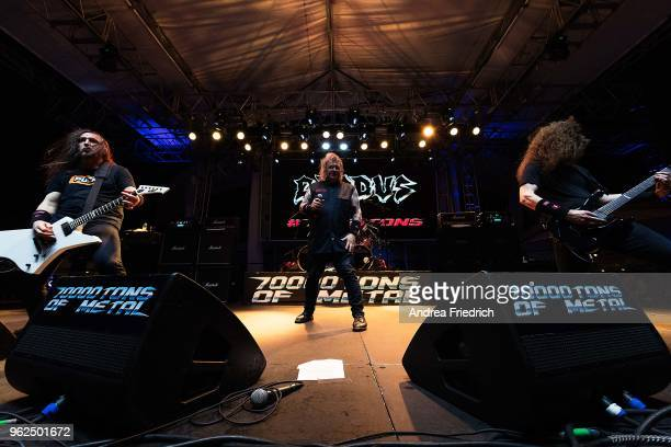 Lee Altus Steve 'Zetro' Souza and Kragen Lum of Exodus perform onboard the cruise liner 'Independence of the Seas' during the '70000 Tons of Metal'...