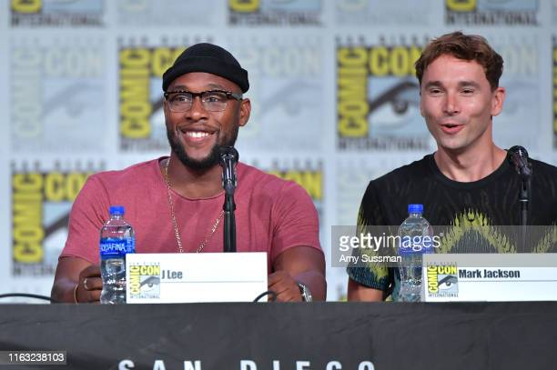 Lee and Mark Jackson speak at The Orville Panel during 2019 ComicCon International at San Diego Convention Center on July 20 2019 in San Diego...