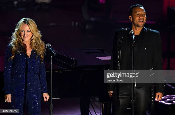 Lee Ann Womack and John Legend perform on CMT Crossroads at The Factory on September 17 2014 in Franklin Tennessee CMT CROSSROADS JOHN LEGEND AND LEE...