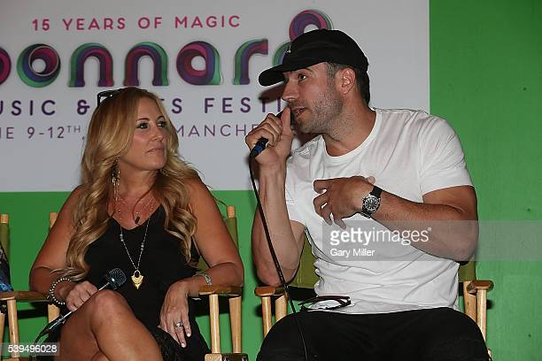 Lee Ann Womack and Sam Hunt speak during the Saturday press conference on the third day of the Bonnaroo Music and Arts Festival on June 11 2016 in...