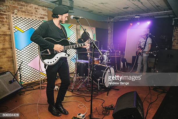 Lee Blackwell James Traeger and Jakob Bowden of Night Beats perform on stage at Headrow House on January 22 2016 in Leeds England