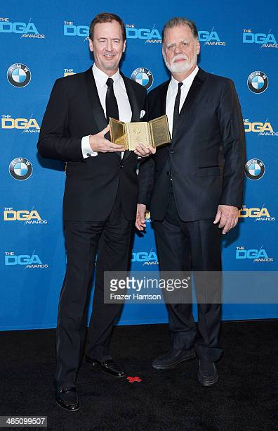 Lee Blaine recipient of the Frank Capra Achievement Award and director Taylor Hackford pose in the press room during the 66th Annual Directors Guild...
