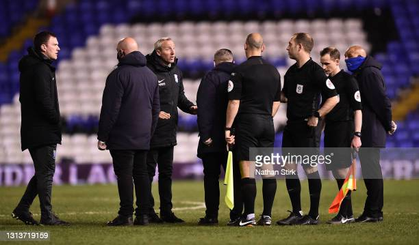 Lee Bowyer, Manager of Birmingham City interacts with Referee after the Sky Bet Championship match between Birmingham City and Nottingham Forest at...