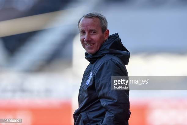 Lee Bowyer, manager of Birmingham City smiles during the Sky Bet Championship match between Derby County and Birmingham City at the Pride Park,...