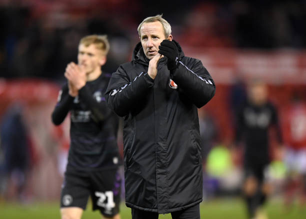 Lee Bowyer manager of Charlton Athletic applauds after the Sky Bet Championship match between Nottingham Forest and Charlton Athletic at City Ground...