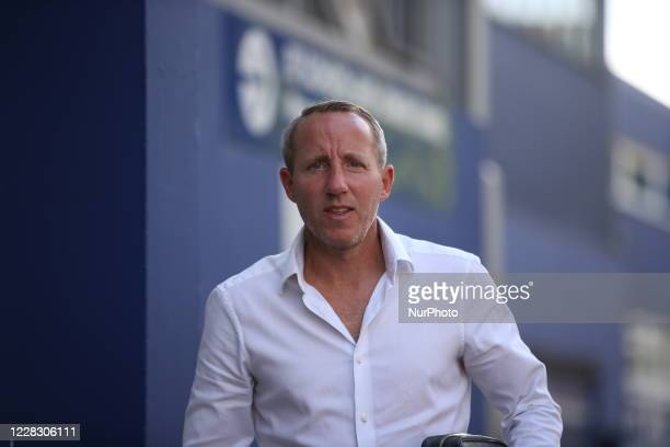 Lee Bowyer manager of Charlton Athletic arrives ahead of the game during the EFL Trophy match between AFC Wimbledon and Charlton Athletic at The...
