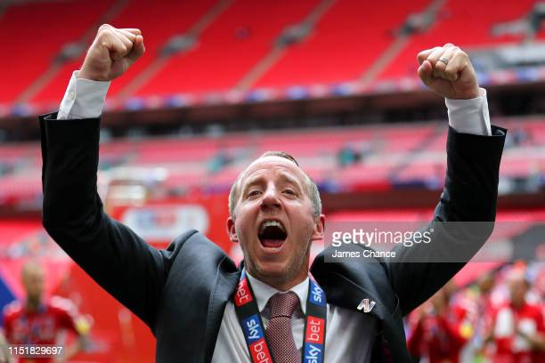 Lee Bowyer Manager of Charlton Athletic celebrates victory and promotion after the Sky Bet League One Playoff Final match between Charlton Athletic...