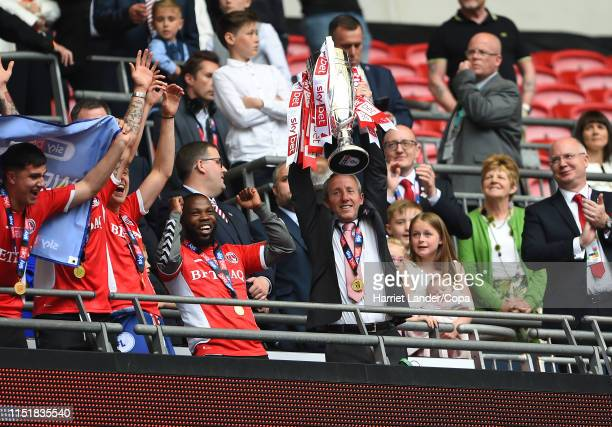 Lee Bowyer Manager of Charlton Athletic celebrates with the Sky Bet League One Playoff Final Trophy following his team's victory in the Sky Bet...